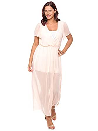 Jolly Chic Solid V-neck Ruffles Maxi Dress For Women - M, Pink