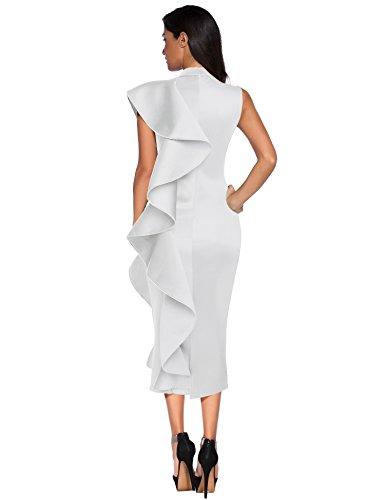 Meilun White Patchwork Party Meilun Sleeveless Dress Ruffles Vestidos Bodycon Women's CrCvxw7p