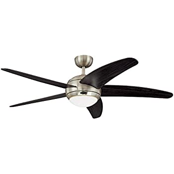 Westinghouse 7255700 Bendan 52-Inch Satin Chrome Indoor Ceiling Fan, Light Kit with Opal Frosted Glass, Remote Control Included
