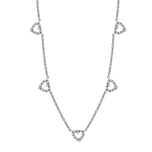 Heart Design Station Necklace for Women 925 Sterling Silver Diamond Accents Long Necklace Free Cable Chain 18