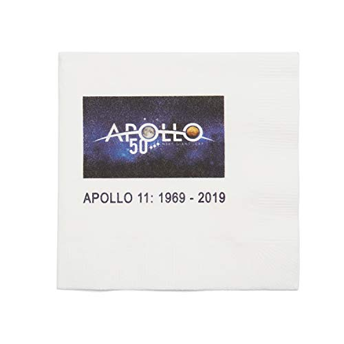 Apollo 11 Moon Landing Anniversary Cocktail Napkins Nasa Space Center Official Apollo 50th Anniversary Logo Pak of 24 Paper Napkins