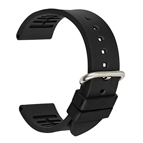 MAIKES Watch Band Fluoro Rubber Watch Strap 20mm 22mm 24mm with Stainless Steel Buckle Replacement Watchband for Sport Watch (Band Width 20mm, Black+Silver Buckle)