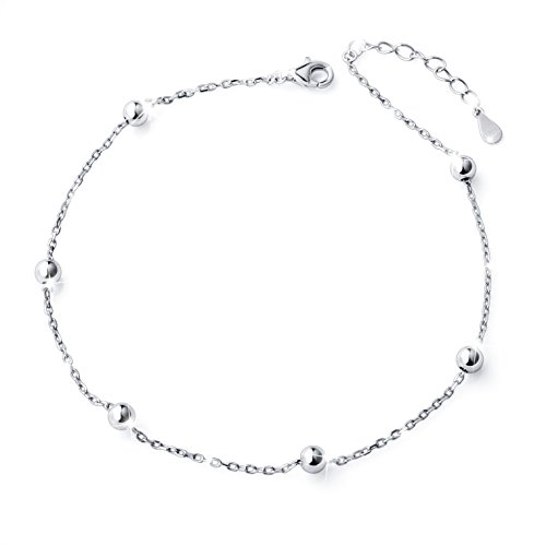 S925 Sterling Silver Bead Plus Anklet for Women Girl Adjustable Beach Style Foot Ankle Bracelet -