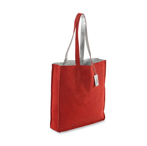 HYDESTYLE Bag Rimor Suede LB32 and Leather Genuine Tote Metallic Silver ar6Swqa
