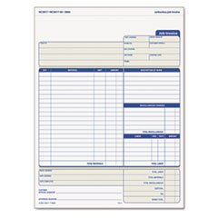 ** Snap-Off Job Invoice Form, 8 1/2 x 11 5/8, Three-Part Carbonless, 50 Forms **