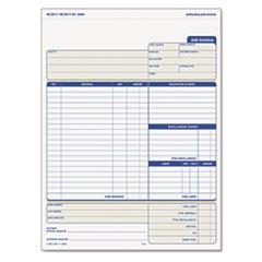 * Snap-Off Job Invoice Form, 8 1/2 x 11 5/8, Three-Part Carbonless, 50 F