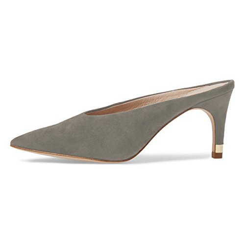 Casual Slip Toe Gray Slide Mid Pumps Shoes Sandals Pointed Mules Women On Clog Heel Retro XYD A0HP4x