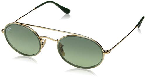 Ray-Ban RB3847N Oval Double Bridge Sunglasses, Gold/Green Gradient, 52 ()
