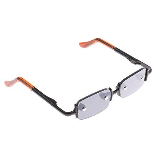 Eyeglass Frame Alloy (Baoblaze Retro No Frame Square Glasses Alloy Eyeglasses Outfit for 1/3 Boy Girl BJD DZ AS LUTS Dolls Clothing Black)