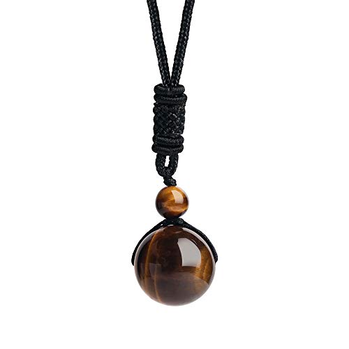 iSTONE Unisex Genuine Round Gemstone Beads 20mm Tiger Eye Pendant Necklace with Adjustable Nylon Cord 24 Inch
