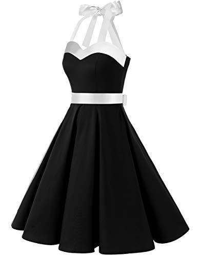 Bianco Halter Audrey Nero Dress Rockabilly Dots 50s Polka Dresstells® Retro Cocktail vxwXana