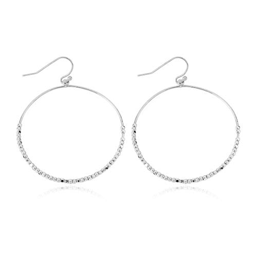 (RIAH FASHION Simple Lightweight Geometric Statement Hoop Earrings - Classic Thin Wire Delicate Curved Threader Dangles Round/Pear/Horseshoe/Oval (Metallic Beaded - Silver))