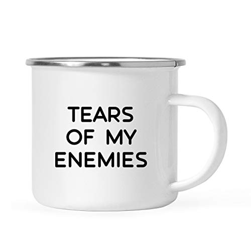 Enemy Mug - Andaz Press Funny Alcohol 11oz. Stainless Steel Campfire Coffee Mug Gift, Tears of My Enemies, 1-Pack, Christmas 21st Birthday Metal Enamel Camping Camp Drinking Cup for Him Her