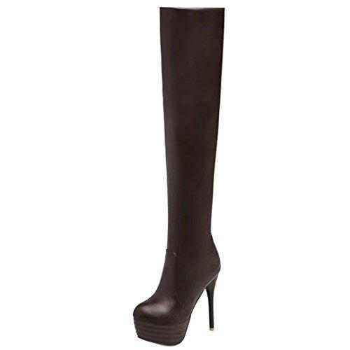 AIYOUMEI Damen Stretch Overknee Stiefel mit Plateau Stiletto High Heels Winter Langschaft Stiefel Party Schuhe Braun