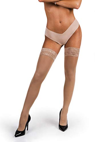 sofsy Lace Thigh High Stockings for Women - Hold Up Nylon Pantyhose 60 Den [Made in Italy] Natural 3/4 - - Stockings Lightweight