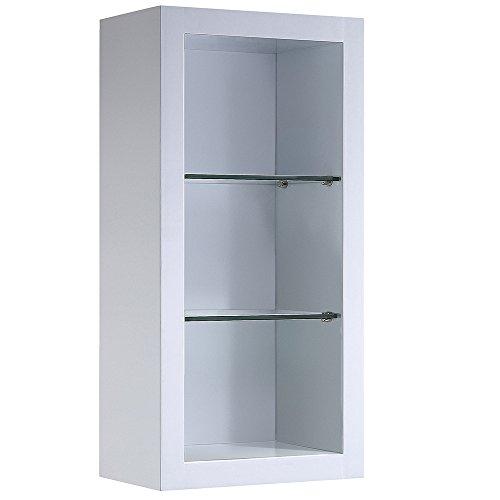 - Fresca Bath FST8130WH Allier Bathroom Linen Side Cabinet with 2 Glass Shelf, White