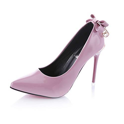 Yukun zapatos de tacón alto Zapatos De Arco, Zapatos De Otoño, Tacones De Aguja, Arco Dulce, Boca Acentuada Pink