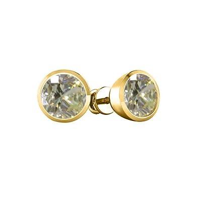9MM Round Cut Fancy Yellow Topaz 14k Gold Plated Sterling Silver Bezel Set Solitaire Stud Earrings