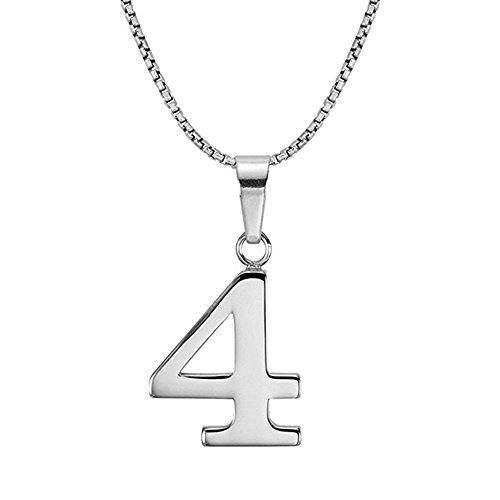 Lutilo 925 Sterling Silver Number 0-9 Charms Pendant Necklace with Chain (Four) (Number Silver Pendants)