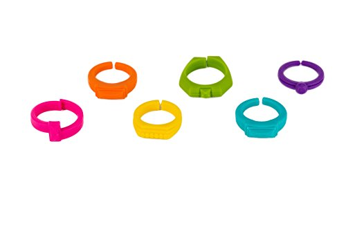Premium Ring Shaped Wine Glass Charms Variety 6 Pack - Party Supplies for Wine Glasses