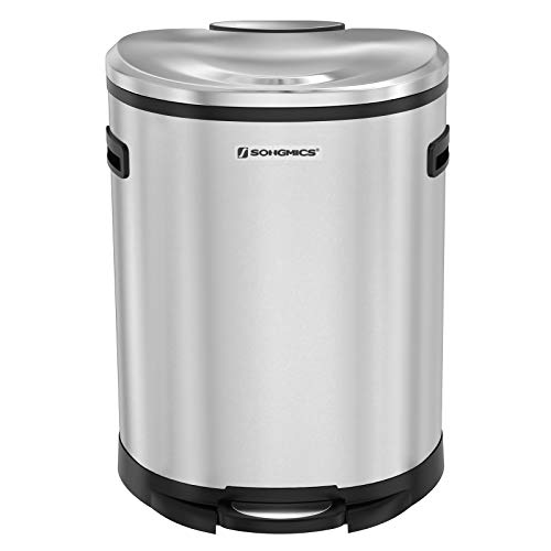 SONGMICS Kitchen Trash Can,13.2 Gal (50L) Pedal Garbage Can, Fingerprint-proof Coating, with Plastic Inner Bucket, Hinged Lid, Soft Closure, Odor Proof and Hygienic, Brushed Stainless Steel ULTB51NL