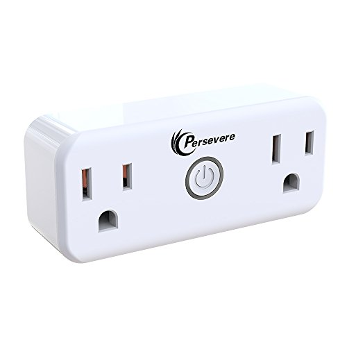 Price comparison product image Persevere WiFi Smart plug with 2 Outlets, Wireless Controlled Mini WiFi Smart Plug ( compatible with Amazon Alexa and Google Assistant)