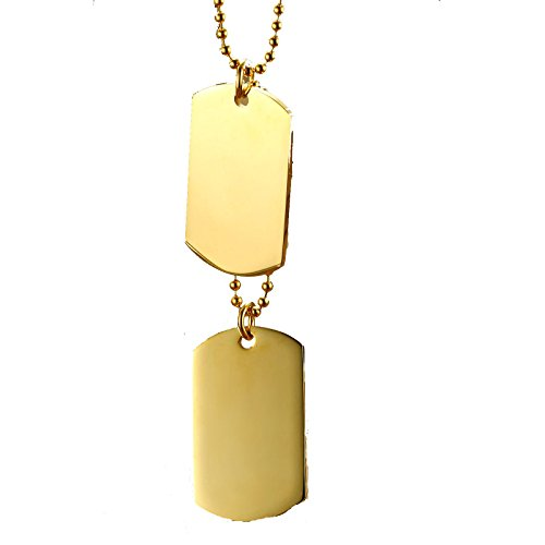 - Gnzoe Free Engraving Stainless Steel Necklace For Men/Women Double Dog Tag 23.5 Inches Gold