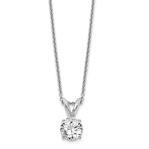 14k White Gold 1/2ct. Round Lab Grown Diamond Si1/si2 J Solitaire Chain Necklace Pendant Charm Fine Jewelry Gifts For Women For Her