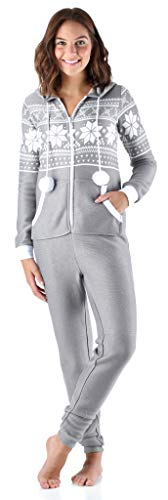 Frankie & Johnny Women's Sleepwear Brushed Fleece Ribbed Non-Footed Onesie Pajama, Grey (FJ1019-1074-SML)