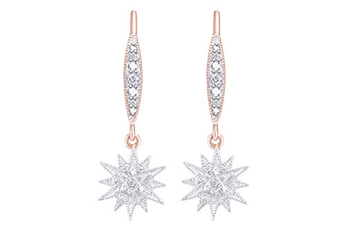 - Aria Jewels Diamond Accent Starburst Drop Dangle Earrings in 14K Rose Gold Over Sterling Silver for Women (1/20cttw)