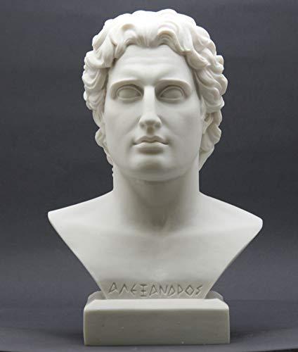 11' Sculpture - Alexander The Great Head Bust Greek Cast Marble Statue Sculpture 11''