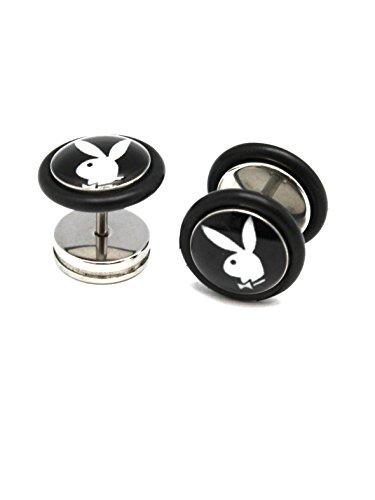 Black Playboy Screw On Cheater Plugs (1 mm, 18 Gauge) - 2 Piece