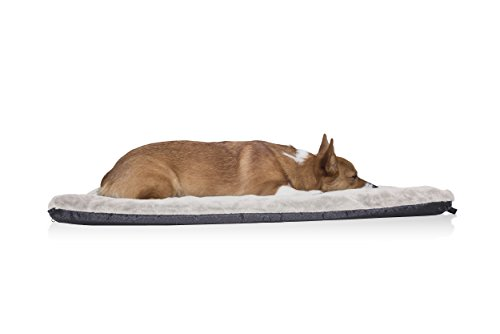 FurHaven Pet Kennel Pad | Orthopedic Faux Lambswool & Sherpa Pet Mattress for Crates & Kennels, Cream, ()