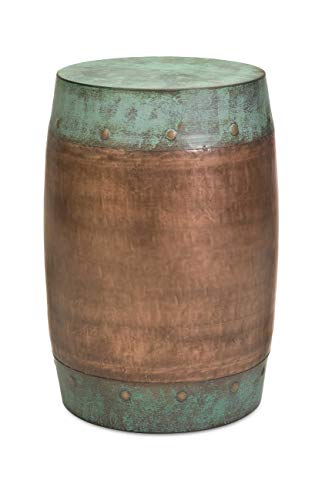 Imax 44195 Rania Copper-Plated Stool - Drum Style Stool, Decorative Accessory, Home Decor. Home Bar Furniture