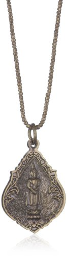 Vanessa Mooney Brass Buddha Amulet on Long Brass African Chain Necklace