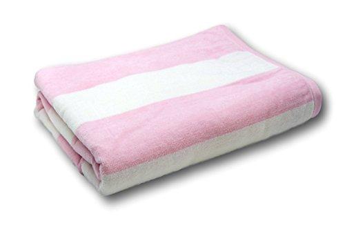 (Lara Cabana 100% Turkish Cotton Beach Towel Pool Spa Bath by Corner4Shop (Pink/White Striped))