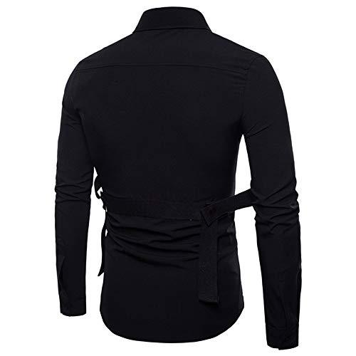 Bestow Hombres de Manga Larga de Oxford Trajes Slim Fit tee Camisas de Vestir Blusa Top Banda de Costura de Invierno: Amazon.es: Ropa y accesorios