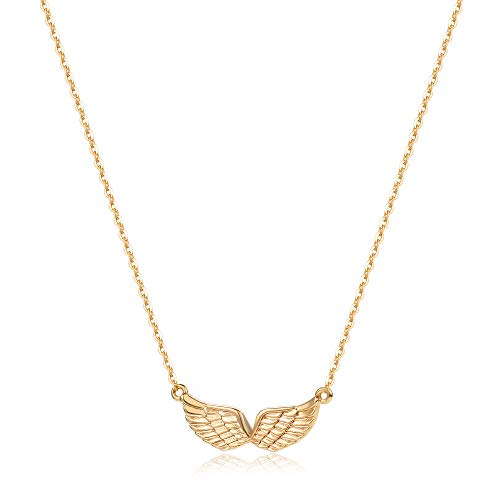 Mevecco Gold Angel Wings Pendant Necklace,14K Gold Plated Cute Tiny Guardian Angel Charm Necklace,Dainty Simple Minimalist Necklace for Women (Guardian Angel Charms For Men)