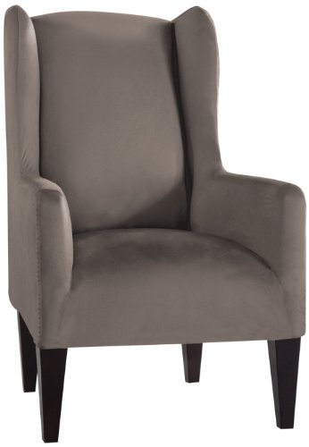 Tailor Fit Stretch Fit Micro Suede Slipcover Furniture Protector for Wingback Chair, Grey (Grey Wingback Chair Slipcover)