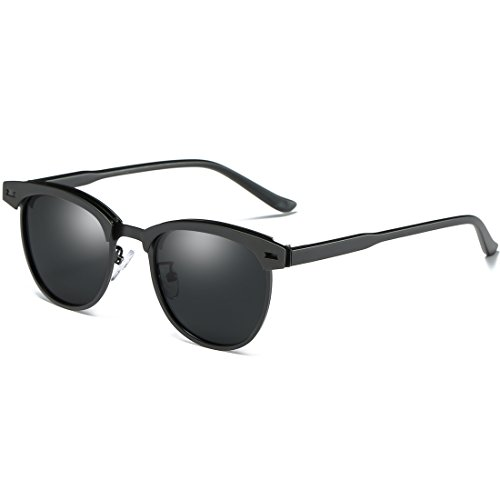 Joopin Semi Rimless Polarized Sunglasses Women Men Retro Brand Sun Glasses (Black Metal, as the - Are Sunglasses Black