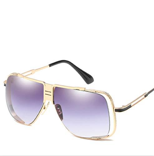 Sol Las de la Las Gafas los Gafas Manera los los Gafas de de de Marcos de la Marcos de Hombres vidrios de Sol señoras de Vendimia los Gray Claro de de Sol Color Metal del de Yqdww8T