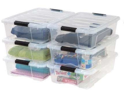 IRIS USA, Inc. Stack & Pull Box,Clear, 26 Quart, 6 Pack
