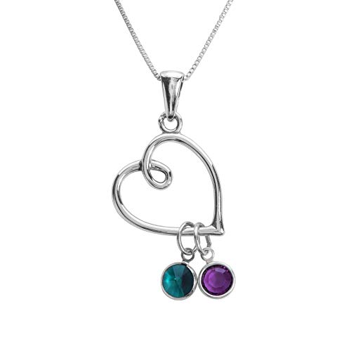 Loving Family Birthstone Charm Necklace Heart - 2 Charms