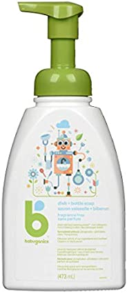 Babyganics Fragrance-Free Foaming Dish Soap, Plant-Derived and Non-Allergenic Baby Bottle Soap, Gentle Clean f
