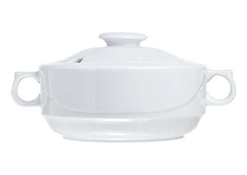 (Soup Tureen with Lid, 2.8 Quart Family Size (for 6), White Porcelain, Restaurant&Hotel Quality)