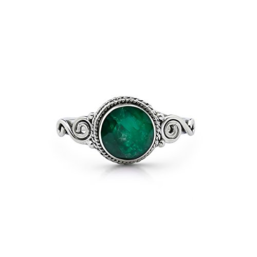 Koral Jewelry Created Emerald Spiral Side Ring 925 Sterling Silver Vintage Gipsy Boho Chic US Size 5 6 7 8 9 (7)