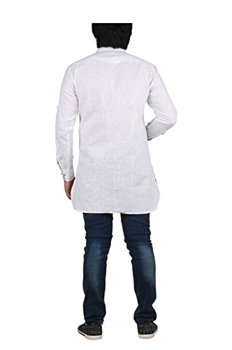 Royal Kurta Men's Fine Cotton Short Pathani Kurta For Denims 38 White by Royal Kurta (Image #2)
