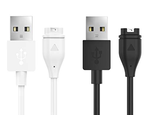 Price comparison product image MoKo Charger Fit Garmin vivoactive 3 / Fenix 5 / 5 Plus / 5S / 5S Plus / 5X / 5X Plus / Forerunner 935 / Instinct / Quatix 5 / Quatix 5 Sapphire,  [2-Pack] Replacement USB Data Sync Charging Cable Wire - Black & White
