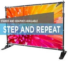 Optional Wrinkle Free Fabric 9x8 Step and Repeat Backdrop Customizable 9 oz Stand /& Travel Bag Included Polyester