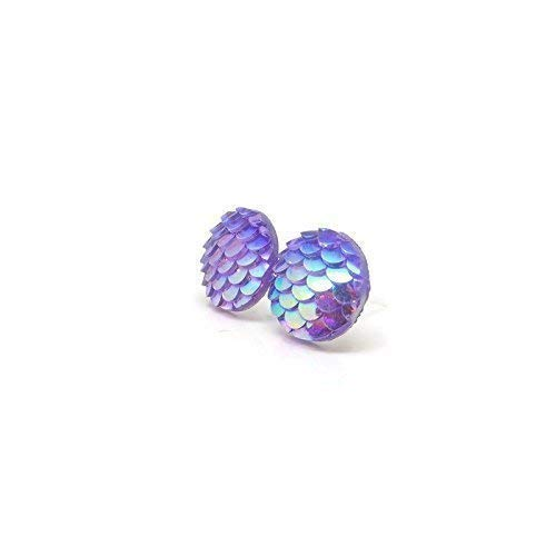Nylon Stud (Mermaid Scale Stud Earrings on Plastic Posts, 12mm Purple Iridescent)